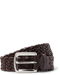 Brunello Cucinelli 35cm Brown Woven Cross Grain Leather Belt