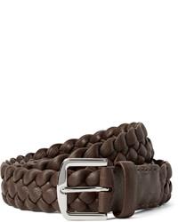 Loro Piana 35cm Brown Woven Leather Belt