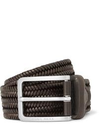 Hugo Boss 35cm Brown Woven Leather Belt