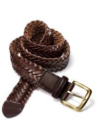 Charles Tyrwhitt Brown Leather Weave Belt