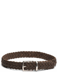 Frye Dark Brown Braided Stud Leather Belt