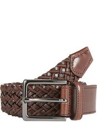 Barneys New York Elasticized Woven Leather Fabric Belt