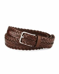 Woven calf leather belt brown medium 1149339