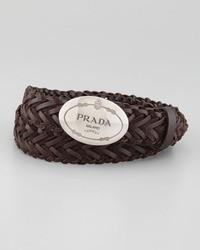 Prada Woven Leather Logo Belt Dark Brown