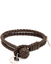Bottega Veneta Intrecciato Woven Knot Leather Bracelet