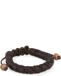 Stephen Webster No Regrets Woven Leather Bracelet Brown