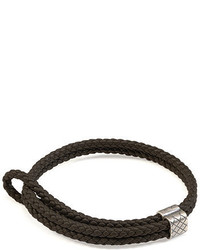 Woven leather bracelet medium 700354