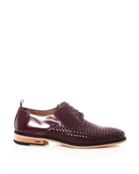 Dark Brown Woven Leather Derby Shoes