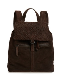 Eleventy Braided Suede Flap Backpack