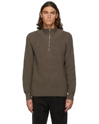 Judy Turner Taupe Laurence Zip Up Sweater