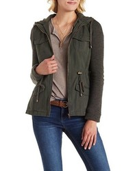 Charlotte Russe French Terry Twill Hooded Anorak Jacket