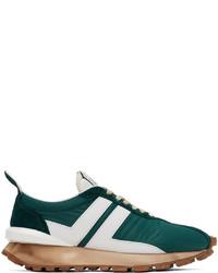 Lanvin Green White Nylon Bumpr Sneakers