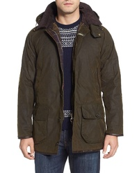 Barbour Longhurst Water Resistant Waxed Cotton Jacket With Detachable Hood