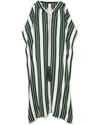 Oscar de la Renta Hooded Tasseled Striped Crepe Maxi Dress