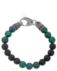 West Coast Jewelry Crucible Stainless Steel Dragon With Matte Black Onyx And Green Agate Beaded Bracelet
