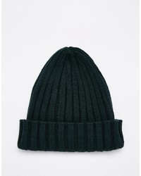 Asos Brand Pointed Ribbed Beanie In Green