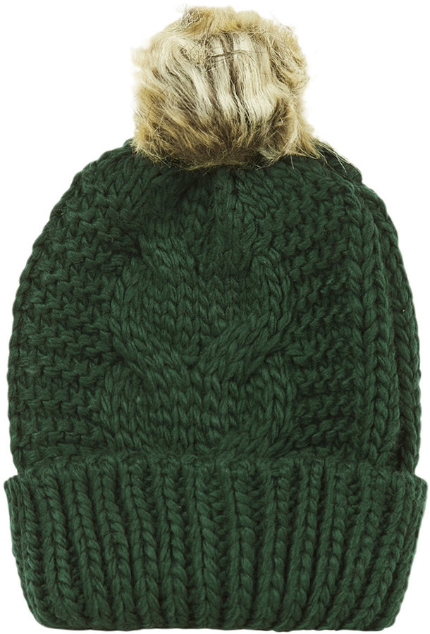 Green Cable Knitted Beanie Hat With Faux Fur Pom And Ribbed Turn Up 100%  Acrylic f2ab41239f8