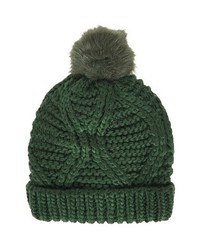 Topshop Cable Knit Pompom Beanie