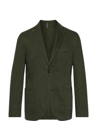 Incotex Dark Green Gart Dyed Cotton And Cashmere Blend Twill Blazer