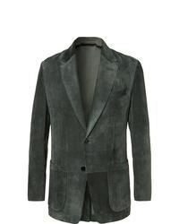 Tom Ford Dark Green Slim Fit Suede Blazer