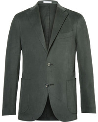 Green slim fit brushed stretch cotton twill suit jacket medium 3690704