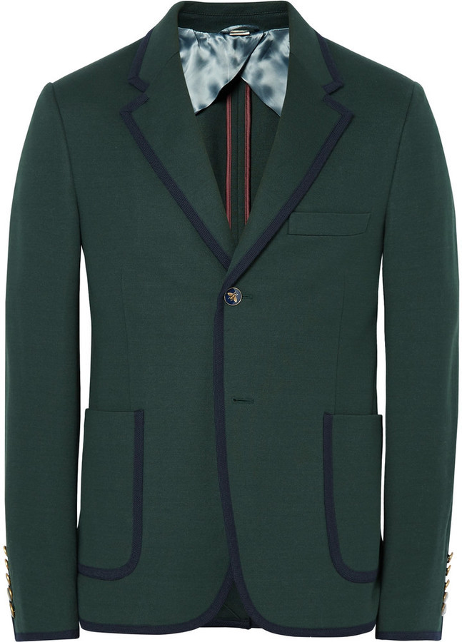 4790c561b Gucci Green Slim Fit Contrast Tipped Cotton Suit Jacket, $2,055   MR ...