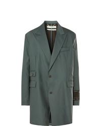 Off-White Grey Green Oversized Virgin Wool Blend Suit Jacket