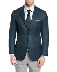 Textured cashmere two button sport coat greennavy medium 713303