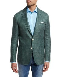 Textured wool blend blazer green medium 709727