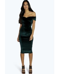 Boohoo Naya Velvet Off The Shoulder Midi Dress
