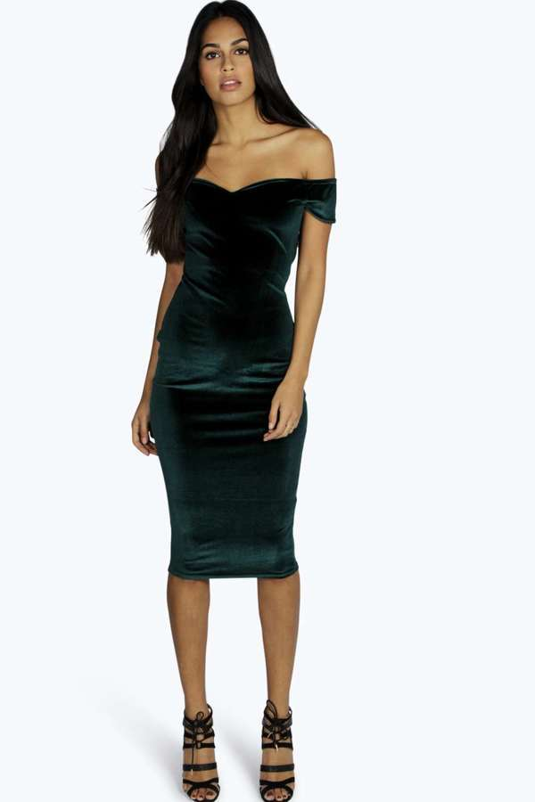 591b9510ec8 ... Dark Green Bodycon Dresses Boohoo Naya Velvet Off The Shoulder Midi  Dress ...