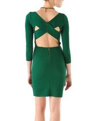 ChicNova Boat Neckline Seven Sleeves Back Cutout Bodycon Dress With Zippers