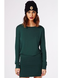 Missguided Jamini Long Sleeve Bodycon T Shirt Dress Deep Green