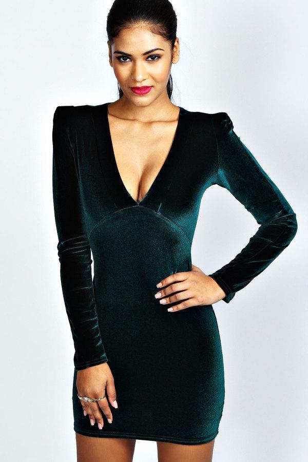 ... Dark Green Bodycon Dresses Boohoo Kate Velvet Plunge Neck Bodycon Dress  ... 193d78021