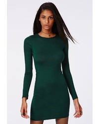 Missguided Rainey Long Sleeve Bodycon Dress Deep Green