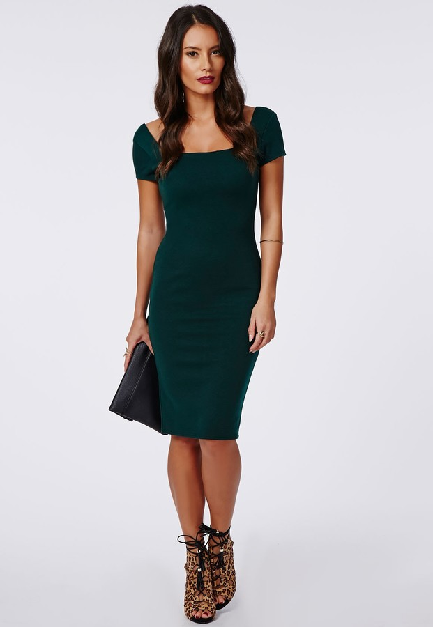 33f40121 Missguided Sandrine Cap Sleeve Bodycon Dress Deep Green, $37 ...