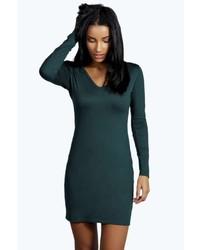 Boohoo Penny V Neck Long Sleeve Bodycon Dress
