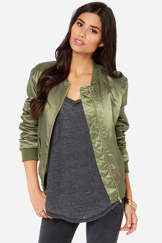 Glamorous Bomb Diddly Olive Green Bomber Jacket | Where to buy ...