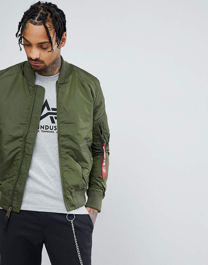 c58b01032 $189, Alpha Industries Ma1 Tt Bomber Jacket Slim Fit In Dark Green