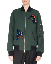 Oversized bomber jacket with patches forest medium 4106372
