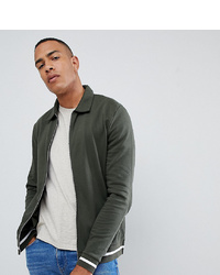 ASOS DESIGN Tall Jersey Harrington Jacket In Black With White Tipping