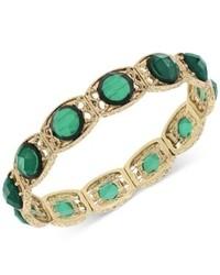 2028 Gold Tone Green Stone Stretch Bracelet