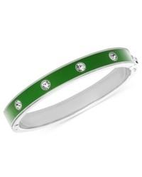 Fossil Bracelet Silver Tone Green Hinged Bangle Bracelet