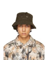 Acne Studios Khaki Nylon Logo Bucket Hat