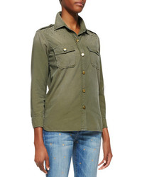 Dark Green Button Down Blouse | Women's Fashion