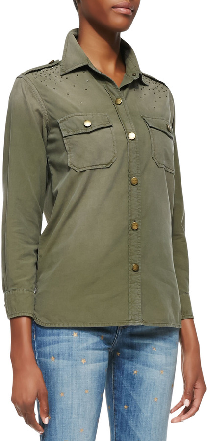 Dark green button down blouse current elliott the perfect for Where to buy button down shirts