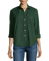 Frank And Eileen Frank Eileen Eileen Long Sleeve Button Front Blouse Deep Green