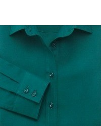 Charles Tyrwhitt Green Brushed Cotton Twill Semi Fitted Shirt