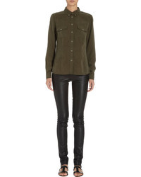 Barneys New York Snap Button Military Shirt
