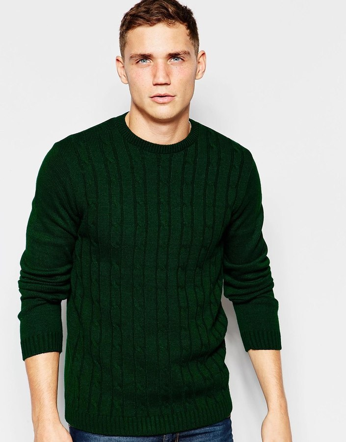 Asos Asos Brand Asos Cable Knit Sweater In Green Where To Buy